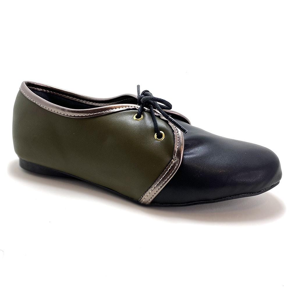Sapato Oxford Napa Preto e Verde Army Vegano - Strax