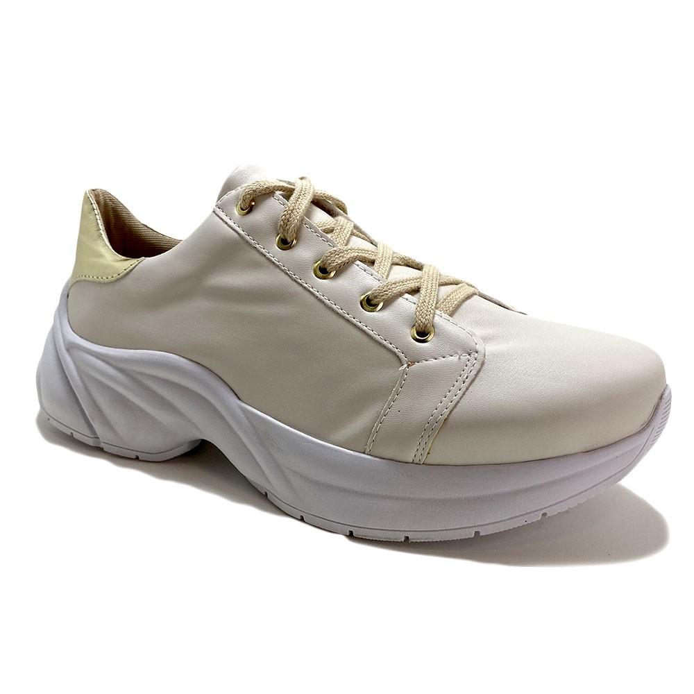Tênis Dad Sneaker Off White Dourado Vegano - Strax