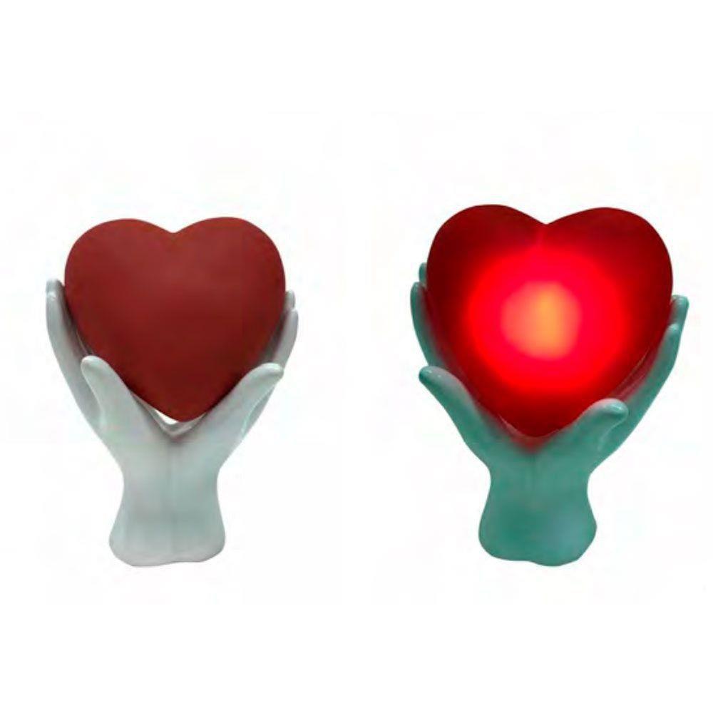 Luminária de Mesa Led Mãos e Coração