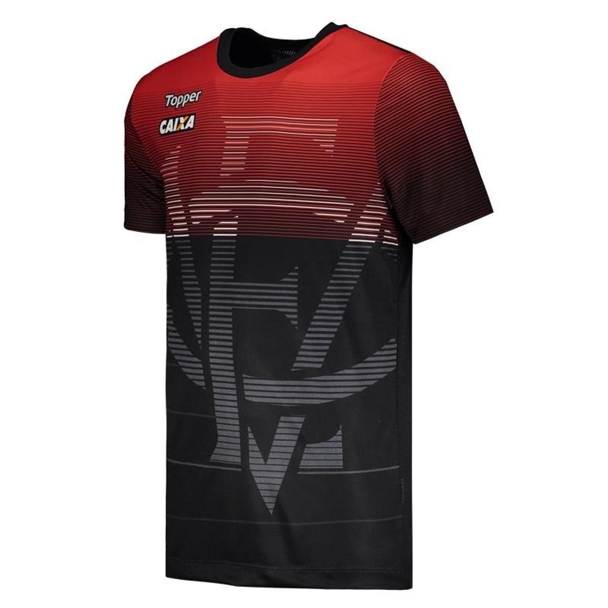 Camisa Aquecimento - Topper - 2018 - Masculina - Preto e Vermelho