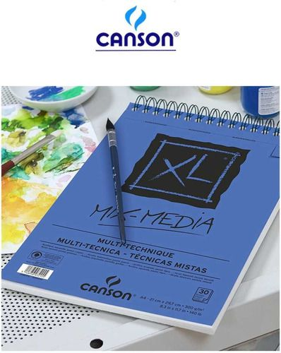 Bloco Espiral Papel XL Mix Media A4 Canson 300g/m2 C/30fls
