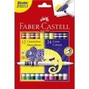 12 Canetinhas Hidrográficas 2 pontas 24 Cores Faber-Castell