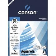 Bloco Papel Canson Aquarela 300g A3 Bloco c/12fls