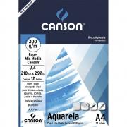 Bloco Papel Canson Aquarela 300g A4 Bloco c/12fls