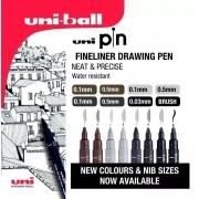 Caneta Nanquim Uni Pin Uni-ball Kit C/ 8 Novas Cores
