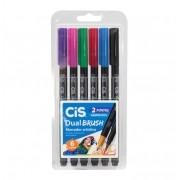 Caneta Pincel Dual Brush Pen Aquarelável C/6 Cores Cis