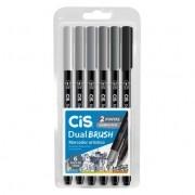 Caneta Pincel Dual Brush Pen C/6 Cores Tons de Cinza Cis