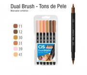Caneta Pincel Dual Brush Pen C/6 Cores Tons de Pele Cis