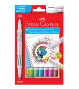 Canetinha Hidrográfica 2 pontas 10 Cores Faber-Castell