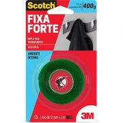 Fita Adesiva Dupla-Face Transparente Fixa Forte 12mmx2m Scotch 3M