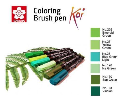 Caneta Pincel Koi Coloring Brush Sakura C/6 Lush Garden