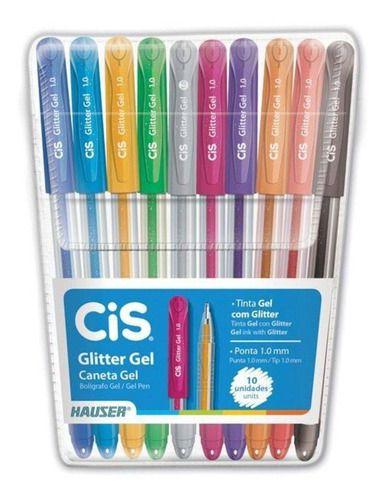 Caneta Gel Glitter Estojo Com 10 Cores Cis