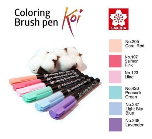Caneta Pincel Koi Coloring Brush Sakura C/6 Calming Pastels