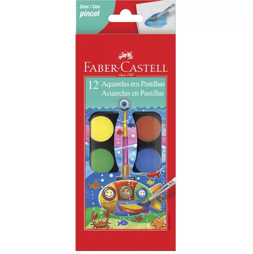 Aquarela em Pastilha 12 cores Faber-Castell