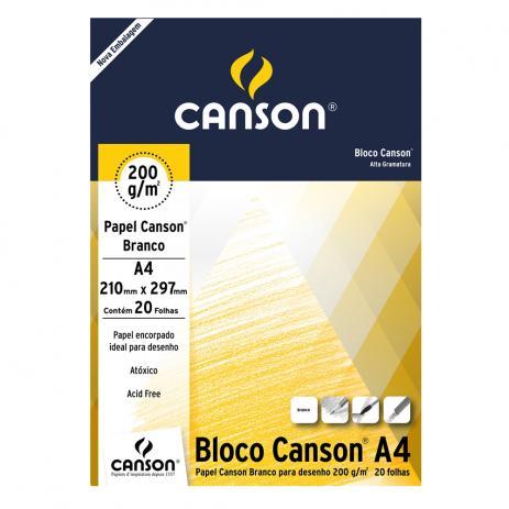 Bloco Papel Canson Desenho 200g A4 bloco c/20fls