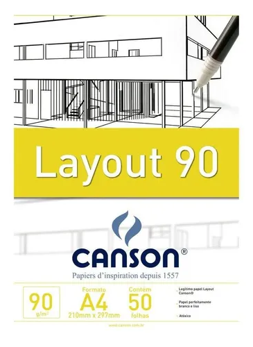 Bloco papel Layout A4 90g Canson c/50 folhas