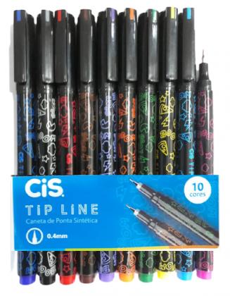 Caneta Extrafina Tip Line 0.4mm Estojo c/ 10 Cores Cis