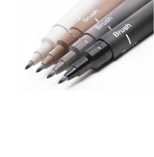 Caneta Nanquim Uni Pin Uni-ball Brush Kit C/ 4 Cores