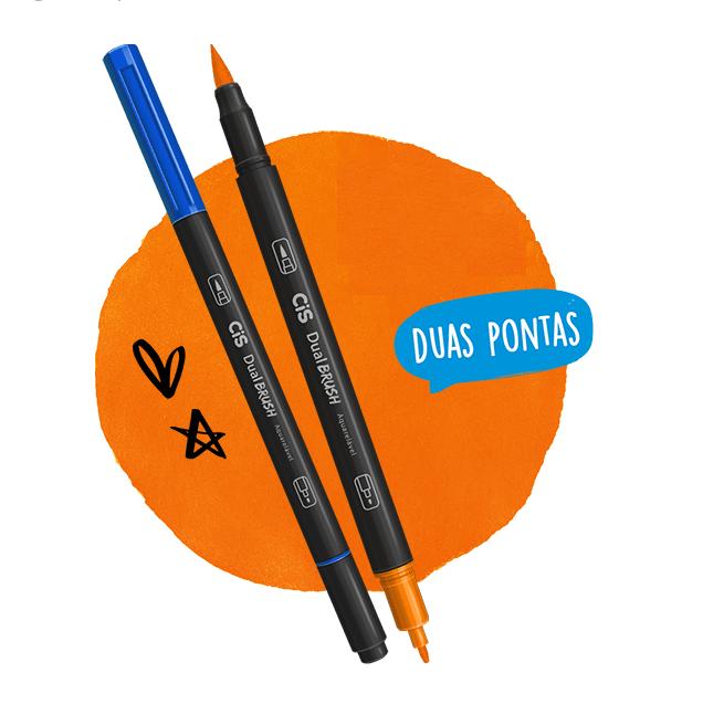 Caneta Pincel Dual Brush Pen Estojo C/12 Cores Cis