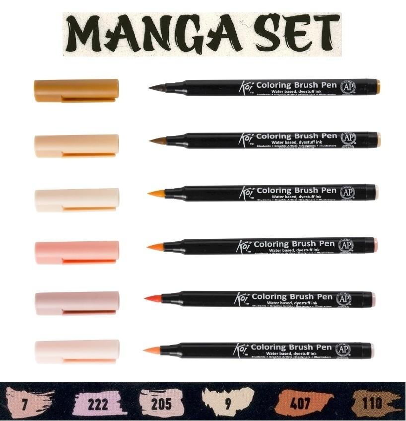 Caneta Pincel Koi Coloring Brush Sakura C/6 Set Mangá