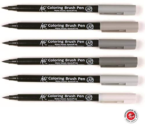 Caneta Pincel Koi Coloring Brush Sakura C/6 Tons De Cinza