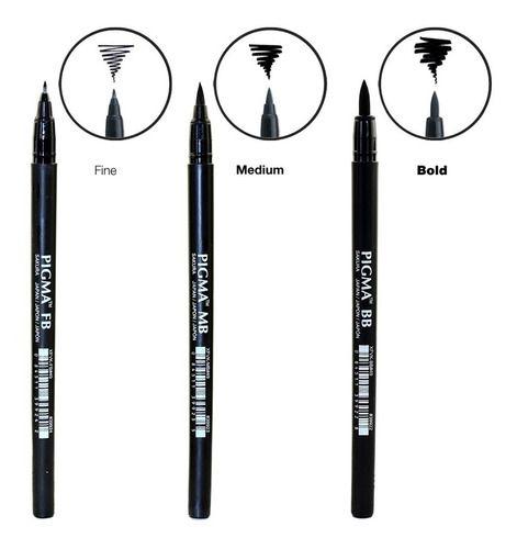 Caneta Pincel Pigma Brush Pen Sakura Kit C/ 3 Traços