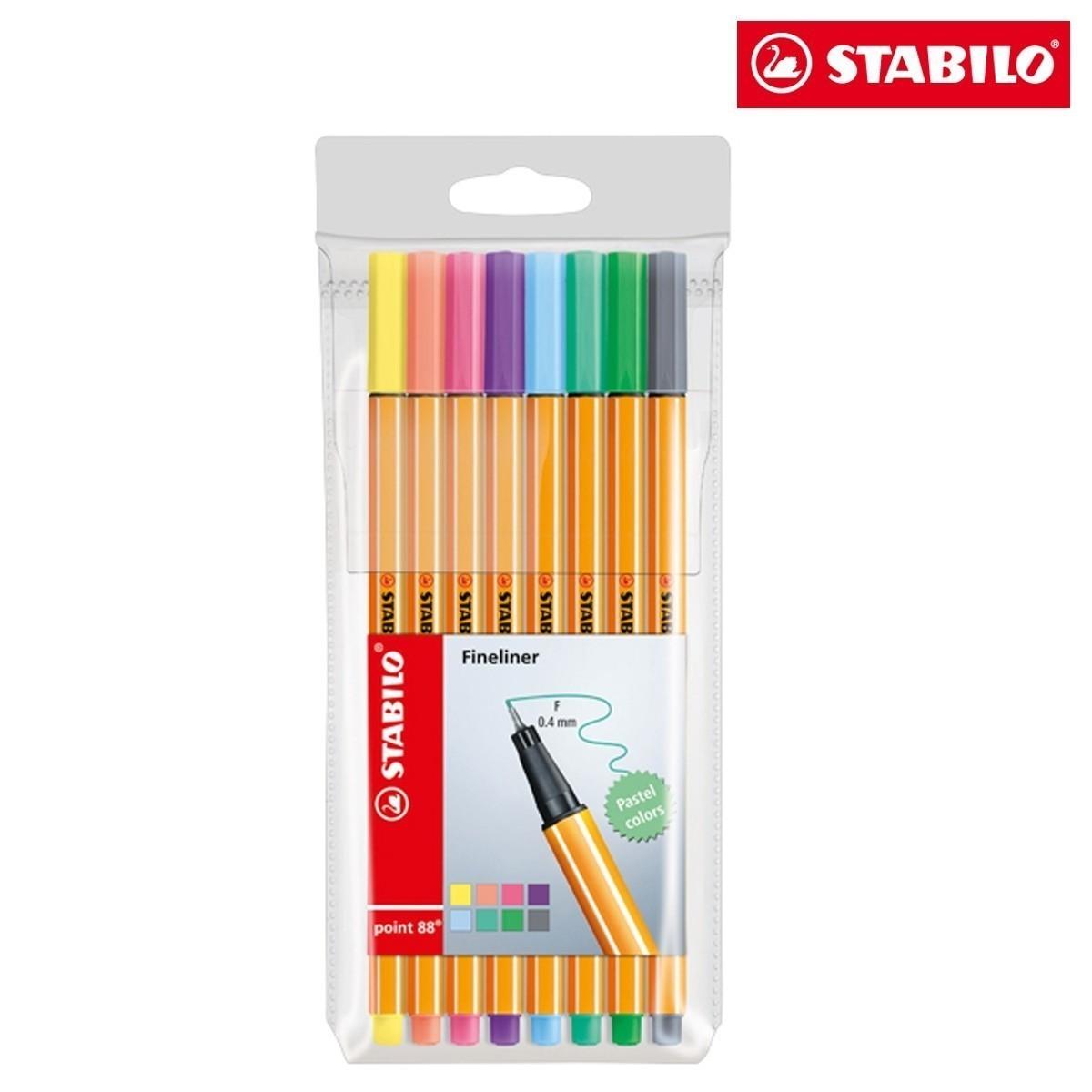 Caneta Stabilo Point 88 0.4 Estojo C/8 Cores Pastel