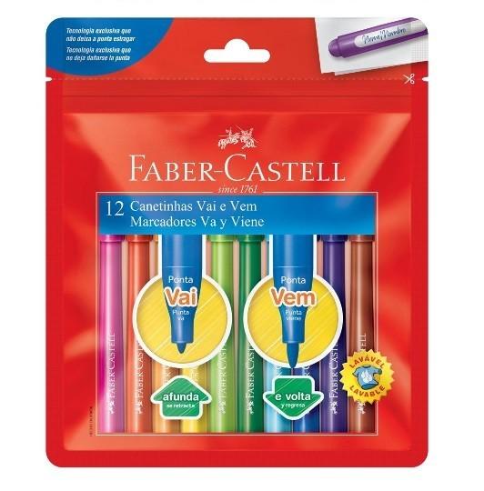 Canetinha Hidrográfica Vai e Vem 12 Cores Faber-Castell