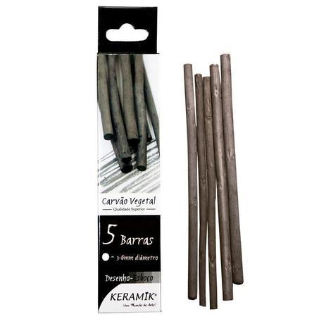 Carvão Vegetal Natural Keramik 5 Barras Para Desenho e Esboço