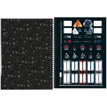 Caderno Assassins Creed 10 Matérias espiral Capa Dura Universitário 160 Fls. 200mmx275mm