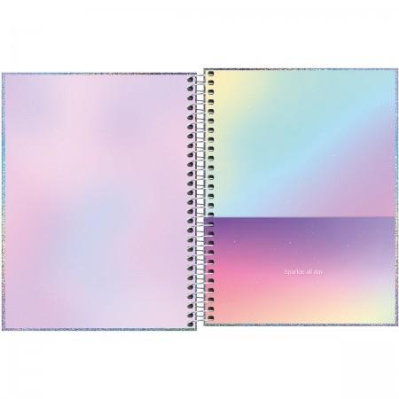 Caderno Glow 1 Matéria espiral Capa Dura Colegial 80 Fls. 177mmx240mm