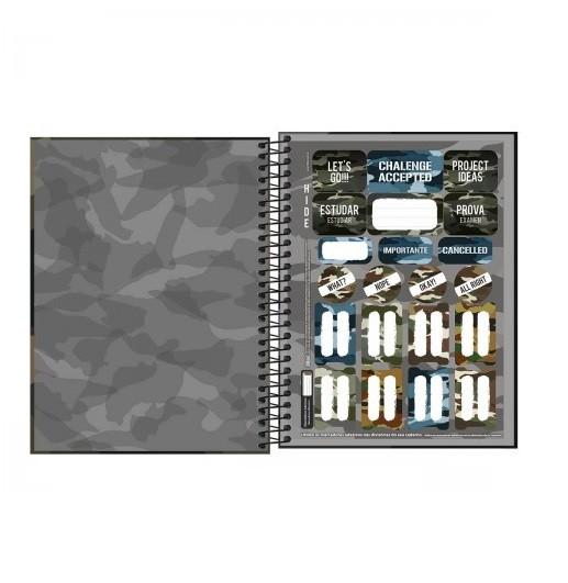 Caderno Hide 10 Matérias espiral Capa Dura Colegial 160 Fls. 177mmx240mm