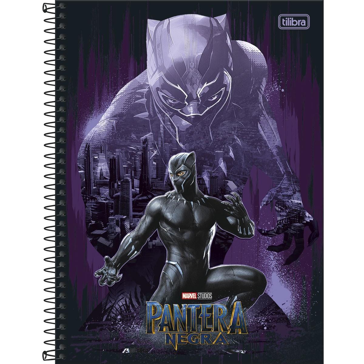 Caderno Pantera Negra 10 Matérias espiral Capa Dura Universitário 160 Fls. 200mmx275mm
