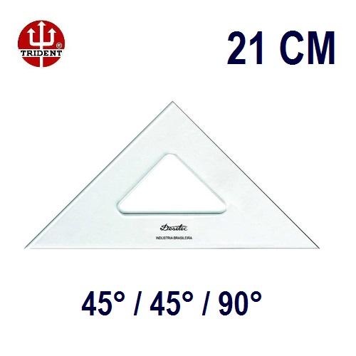 Esquadro Sem Escala 2521 45°/45°/90° 21cm Trident