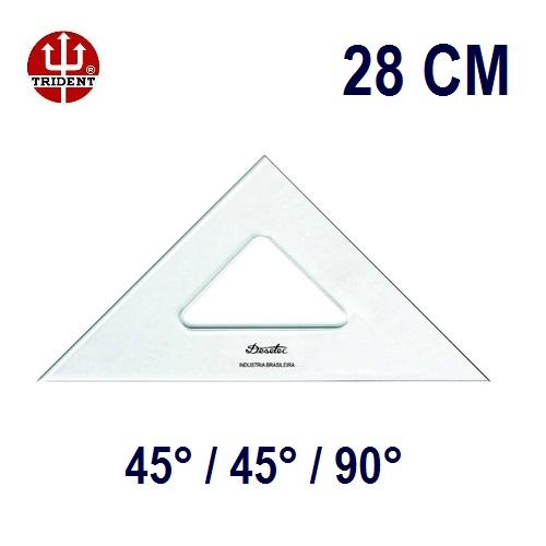 Esquadro Sem Escala 2528 45°/45°/90° 28cm Trident