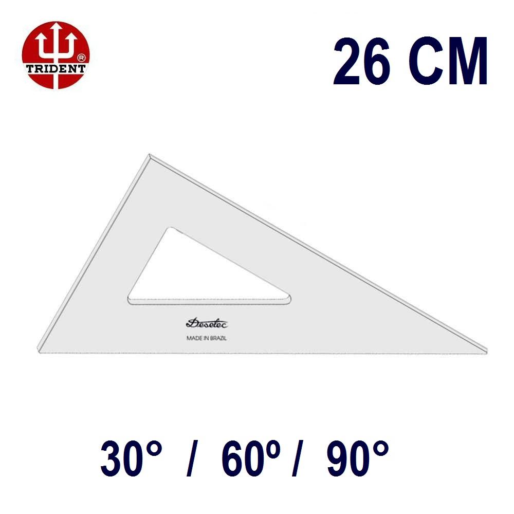 Esquadro Sem Escala 2626 30°/60°/90° 26cm Trident