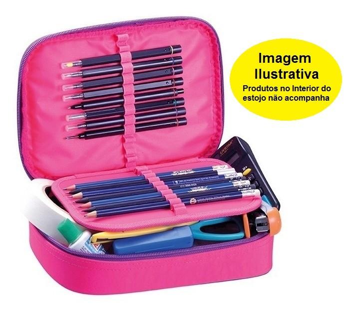 Estojo Fluor Mix Rosa Foroni 220mmx155mmx50mm