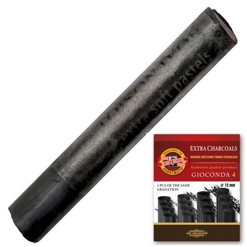 Giz Carvão Preto Médio 12mm Koh-I-Noor C/ 4 Unidades