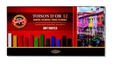 Giz Pastel Seco Soft Carré 12 Cores Toison D'or Koh-I-Noor