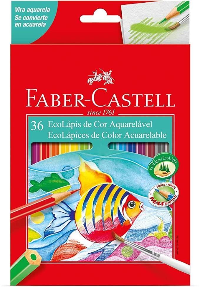 Lapis de Cor Aquarelável 36 Cores Faber-Castell Ecolápis