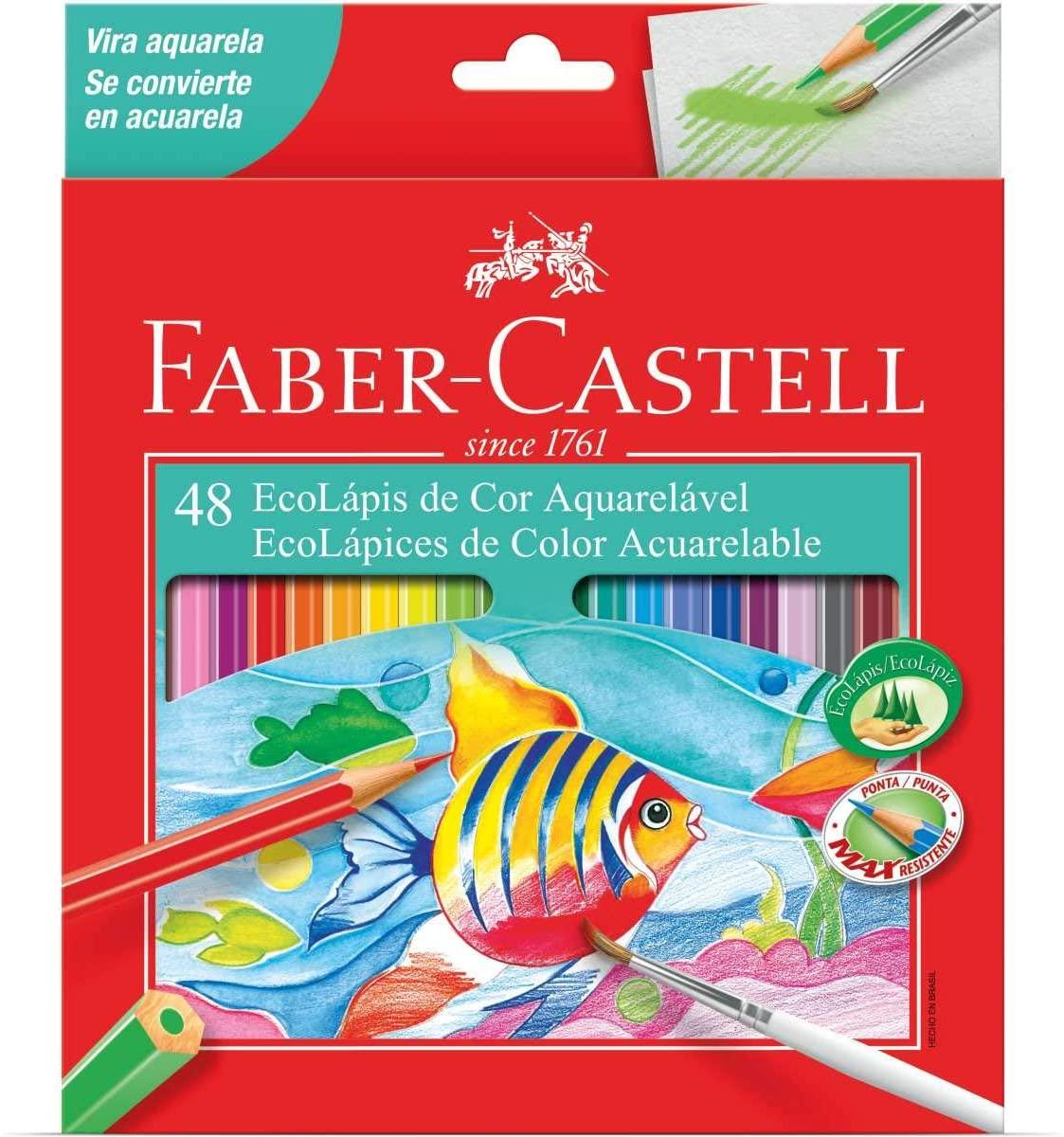 Lapis de Cor Aquarelável 48 Cores Faber-Castell Ecolápis