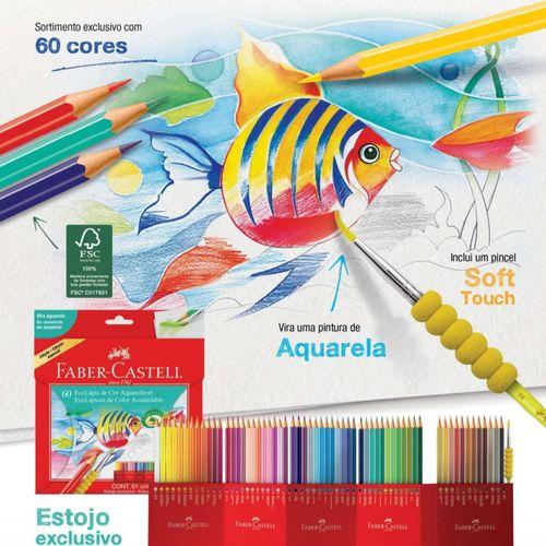 Lapis de Cor Aquarelável 60 Cores Faber-Castell Ecolápis