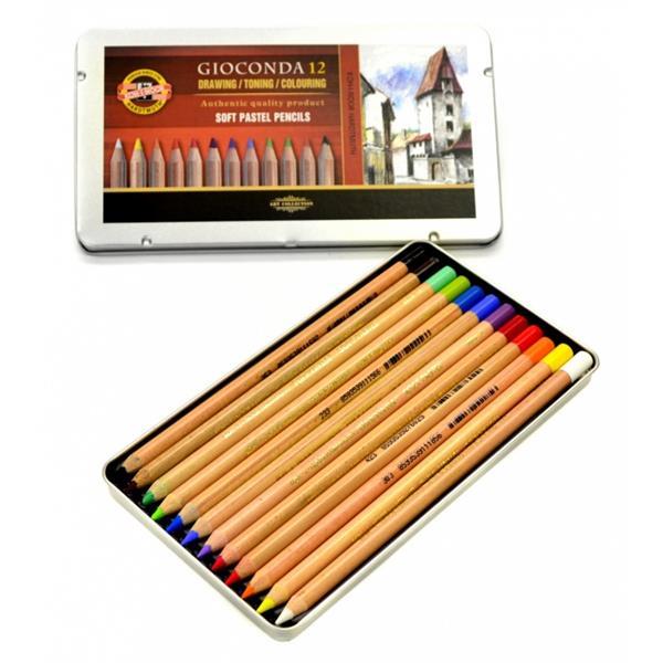 Lápis Pastel Gioconda C/12 Cores Koh-i-Noor Estojo Metálico