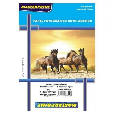 Papel Fotográfico Auto-adesivo Glossy A4 210mmx297mm 130g Com 20 Folhas Masterprint