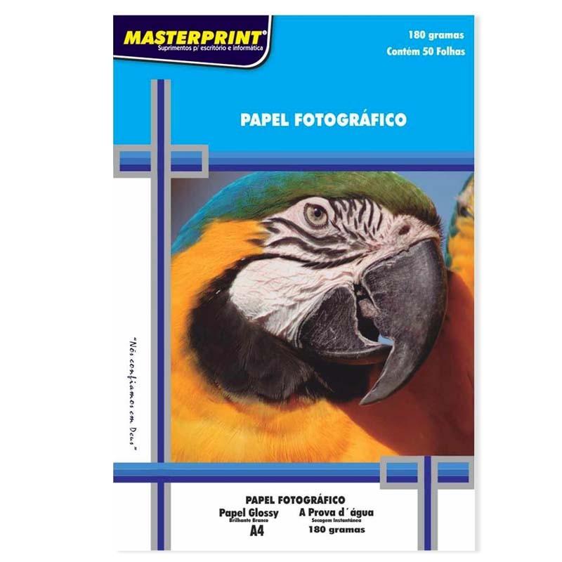 Papel Fotográfico Glossy A4 210mmx297mm 180g Com 50 Folhas Masterprint