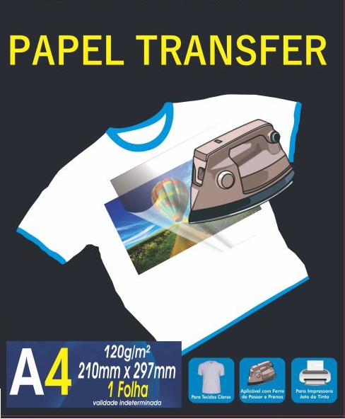 Papel Transfer para Tecidos Claros A4 120g/m2 Unidade