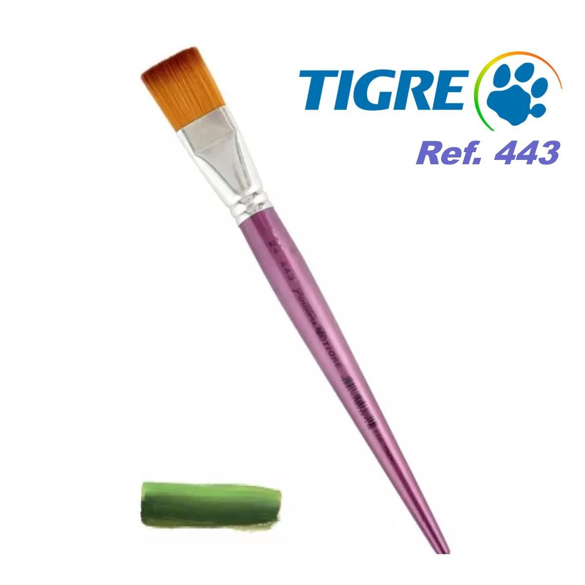 Pincel Chato Pelo Sintético Mesclado Ref. 443 Tigre