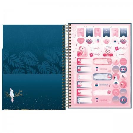 Planner Flamingo Aloha 2021 Espiral 63g 80fls. Tilibra 177mmx240mm