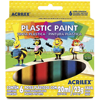 Tinta Plástica Caixa com 6 cores Acrilex