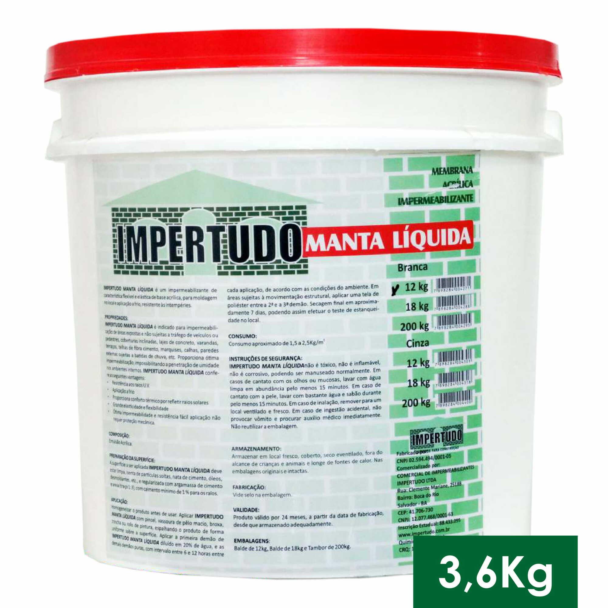 IMPERTUDO MANTA LIQUIDA BRANCA - GALAO 3,6 KG